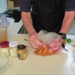 Mixing Yiros marinade  meat  Ziplock bag