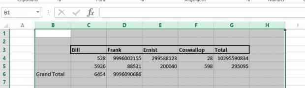 Excel on column width